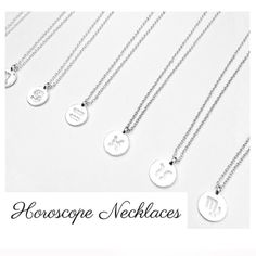 • Horoscope Sign Necklaces • What's your sign? Keep it close to your heart with these dainty & delicate necklaces. All 12 signs available. DO NOT purchase this listing, comment below what signs you'd like and I'll make a separate listing for you:)   ♥Color: Silver   ♥Chain Color: Silver  ♥Chain Length: 17 inches  ❤️Material: zinc alloy, non-tarnish, non-allergic, safe material.  ♥Pendant Size: 12 x 12 mm  ♥Chain type: Link Chain with lobster clasp Jennifer's Chic Boutique Jewelry Necklaces