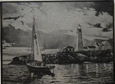 Valmiskuvasta kaiverrettu purjeveneaiheinen maisemakivitaulu