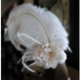 Handmade French Silk Flower - Bridal Fascinator - Ostrich-Rooster Coque-Saddle Hackle