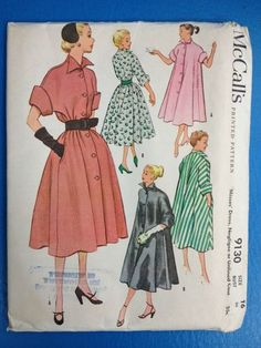 Vintage McCall's Pattern 9130 / 1950's / Misses' Dress, Negligee, Coat / Size 16