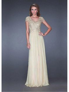 A-Line Cap Sleeves Lace Chiffon Mother of The Bride Dresses Evening Dresses