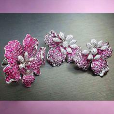 Prima Gems Pink Sapphire & Diamonds Flower Ring & Earrings.