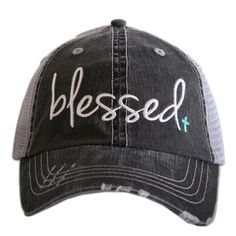 Katydid Blessed Hat designed by Katydid trucker caps are embroidered and have curved bill distressed cap gives it a worn look adjustable tab with mesh back 80%