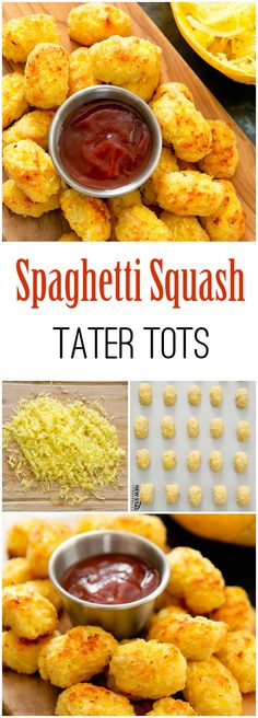 Spaghetti Squash Tots. Crispy baked cheesy tots that are healthier than regular tater tots.