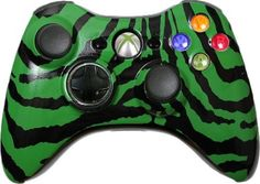 Custom Xbox 360 Controller with Green Zebra Shell - New Xbox 360 Controller