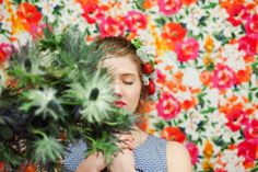 LOVE elements ~ Trompe L'oeil  floral by Allison Baddley,La Fete floral & events. Photo courtesy of Lindsey Stewart, Green Apple Photography. Model: Alex Pynes