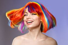 Woman hair as color splash. Rainbow up do short haircut. Beautiful young girl model with glowing healthy skin. Young Girl Models, Pelo Multicolor, Hair Color For Women, Rainbow Hair, Over The Rainbow, Short Hair Cuts, Bob Hairstyles, Healthy Skin, Color Splash