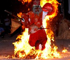 Tengu walking through fire