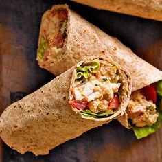 These 25-minute Chicken Enchilada Wraps are the perfect, packable lunch. More healthy lunches: http://www.bhg.com/recipes/lunch/healthy-lunch-ideas-brown-bag-recipes/ #myplate