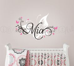 Gorgeous! Love this for Izzy's room Butterfly and Custom Name Wall Decal Butterfly by InAnInstantArt, $40.00