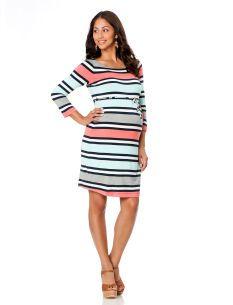 3/4 Sleeve Zipper Detail Maternity Dress