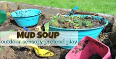 Make some mud soup while exploring nature in your own yard. Eli and I are I made mud pies when I was a kid . Planning a trip to the Salvation Army to search out some mud pie kitchen ingredients verrrrry soon! Outdoor Games, Outdoor Fun For Kids, Outdoor Learning, Outdoor Play, Kids Learning, Outside Activities, Nature Activities, Summer Activities, Toddler Activities