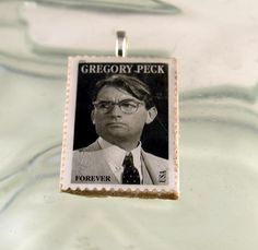 GREGORY PECK Forever US Postage Stamp Pendant Resin by ChezChani, $5.00