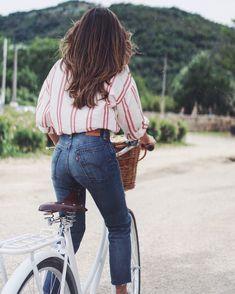 "Previous pinner: ""Striped shirt, high waist jeans, girl on bike // Chanel N5 Grasse"""