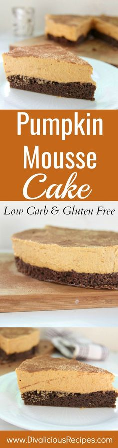 This pumpkin mousse cake is a light and delicious low carb and gluten free dessert.  A combination of two favourite desserts in one with a chocolate cake base topped with a light pumpkin mousse.