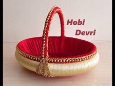DIY, Making Red and Gold Basket, Wedding Basket, Party Basket, Henna Basket – My Wedding Dream Embroidery Hearts, Hand Embroidery Flowers, Wedding Gift Hampers, Indian Wedding Gifts, Red Wedding, Wedding Cards, Red Basket, Cardboard Box Crafts, Nylon Flowers