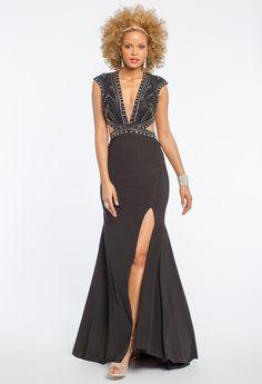 Jersey Knit Studded Cut Out Prom Dress #camillelavie #CLVprom