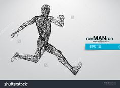 Silhouette Of A Running Man. Text And Background On A Separate Layer, Color Can Be Changed In One Click. Running Man Vektorová ilustrace 442341202 : Shutterstock