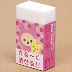 "cute Rilakkuma bear as bunny eraser with strawberry by San-X. $2.32. 2 different patterns on the front and back. Japanese glitter eraser with Rilakkuma bear as bunny with strawberries. 1 piece. width: 2.7cm (1.1""), height: 4.8cm (1.9""). by San-X, Import from Japan, very good quality, super cute design. San-X glitter eraser with Rilakkuma bear as rabbit with strawberries"