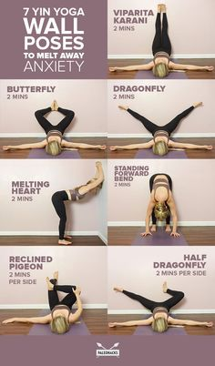 Let your stress and anxiety melt away with these yin yoga poses that use a wall as a relaxing prop.