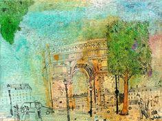 Christopher Tate Art - Paris Gallery | Christopher Tate Art | Cornish Artist Paris Images, Vintage World Maps, Stairs, Gallery, Drawings, Illustration, Artist, Artwork, Painting