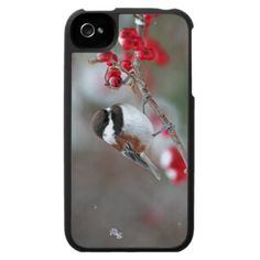 Chickadee in Falling Snow with Red Berries iPhone 4 Cover