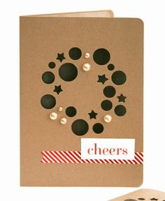 Holiday Wreath Card by Pearl Lui for SEI - Amazing cut-outs that create a wreath - Great Christmas card idea