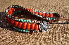 Amazon.com: Orange Coral Leather Cuff Bracelet: Handmade