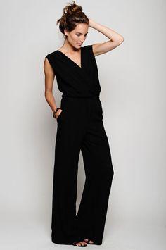 Simple black wide leg jumpsuit