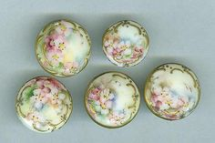 Set of 5 Victorian Hand Painted Apple Blossom Porcelain Stud Buttons | eBay