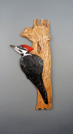 Woodpecker Wooden Bird Wood Carve Wall Art Carved on Wood Wildlife Art Wood Sculpture One Piece of Wood Carved by Hand by Vladimir Davydov