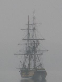 The tall ship Lady Washington at anchor in fog in the San Juan Islands of Washington State. Photo by Grays Harbor Historical Seaport Authority.