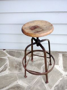 Industrial Stool Rustic Metal with Oak Seat by FingerLakesFinds