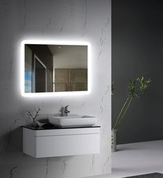 Wall-mounted LED Backlit Mirror with frosted glass edges front view Modern Bathroom, Bathroom Decor, Powder Room Decor, Trendy Bathroom, Mirror Wall, Luxury Bathroom, Led Mirror, Bathroom Interior Design, Backlit Mirror