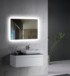 Wall-mounted LED Backlit Mirror with frosted glass edges front view Backlit Mirror, Led Mirror, Mirror With Lights, Mirror Glass, Wall Mirror, Best Kitchen Design, Design Rustique, Powder Room Decor, Bathroom Interior Design