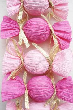Wrap treats + tiny treasures in crepe paper or streamers. tie at ends with sparkly ribbon., Wrap treats + tiny treasures in crepe paper or streamers. tie at ends with sparkly ribbon. Wrap treats + tiny treasures in crepe paper or streamers. Pink Und Gold, Rose Gold, Pink Parties, Birthday Parties, Birthday Brunch, Birthday Favors, Tea Parties, Birthday Presents, Birthday Ideas