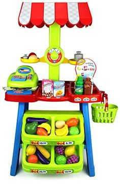 Toy Cash Registers - Velocity Toys Super Market Food Stall Childrens Kids Pretend Play Toy Food Play Set w Toy Cash Register Pretend Food and Money >>> See this great product.