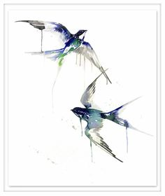 Emerald Swallows | Sharon Boonzaier | Ink & gold leaf