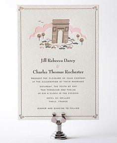 Visit Paris Letterpress Wedding Invitation