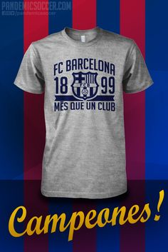 Show your support for the Champions of Spain, FC Barcelona. Mes que un club. - 100% Cotton T-Shirt - Seamless double needle 7/8 collar - Taped neck and shoulders - ThermoFlex Soft vinyl print.