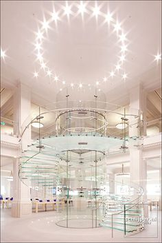 Luxury glass staircase foyer