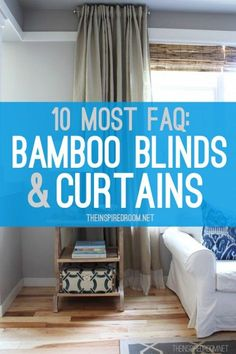 great Q & A from The Inspired Room re: hanging bamboo blinds from the wall to make the window appear taller Patio Blinds, Diy Blinds, Outdoor Blinds, Bamboo Blinds, Fabric Blinds, Curtains With Blinds, Blinds For Windows, Shutter Blinds, Window Blinds