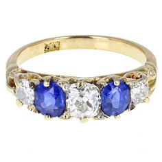 $7,172. Antique Victorian Sapphire & Diamond Gallery Set Five Stone Gold Ring | From a unique collection of vintage cluster rings at https://www.1stdibs.com/jewelry/rings/cluster-rings/