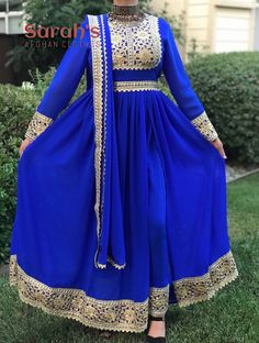 Traditional Three-Piece Long dress with Slit on the side Pakistani Dress Design, Pakistani Dresses, Indian Dresses, Afghani Clothes, Long Dress With Slit, Dress Outfits, Fashion Dresses, Indian Fashion Trends, Afghan Dresses