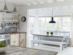 Rustic beach house kitchen and dining space... Beach Studios »wynchelse »Film Shoot locations »Photo Shoot spaces »amazing spaces film »tv »photo industries~via Country Style Home by Joanne Netting