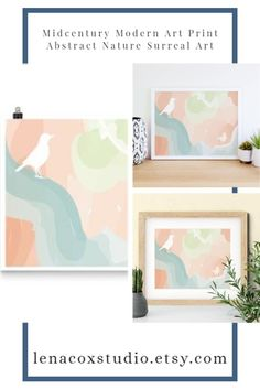 The midcentury modern art print features two white abstract birds on orange and light green clouds. The abstract nature surreal art is ideal for Scandinavian wall art or boho office decor. Give the bird drawing as a birthday gift or new home gift.The museum-quality posters are made on thick and durable matte paper. Add a wonderful accent to your room and office with these posters that are sure to brighten any environment.  #midcentury #modernart #roomdecor