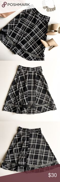 Faith and Joy Mesh Panel A-line Skirt, S A beautiful b&w plaid A-line skirt with a high-waisted flare fit, with a mesh panel along the hemline and an elastic waistband. Fits true to size S, 2-4. Brand new, NWOT. Please feel free to make an offer! :) Faith and Joy Skirts A-Line or Full