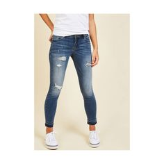 Vintage Inspired Skinny Kick Back and Make Snacks Jeans ($60) ❤ liked on Polyvore featuring jeans, apparel, blue, bottoms, denim pant, skinny denim pant, denim skinny jeans, super low rise skinny jeans, stretch jeans and destroyed skinny jeans