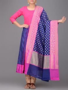 Buy Blue Pink Benarasi Silk Dupatta Dupattas Woven Online at Jaypore.com
