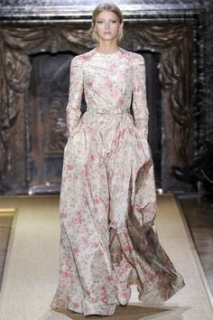 Valentino - look at the shoe too!  Hell has frozen over... there is something modest on the fashion runway!
